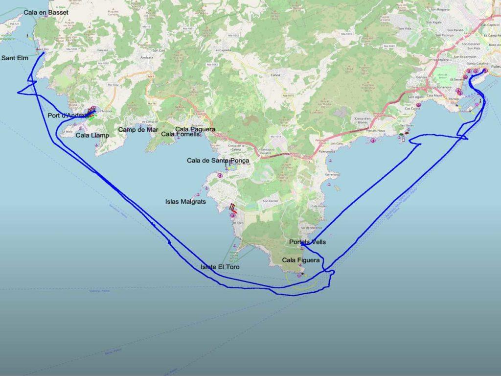 Unser Törnverlauf ab Palma de Mallorca in Richtung Westen