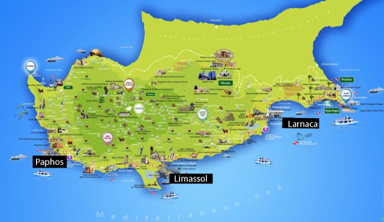 Verschiedene Charteranlaufstellen in Zypern